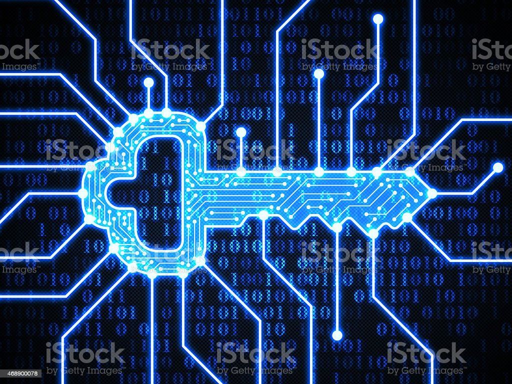 Key on digital background stock photo