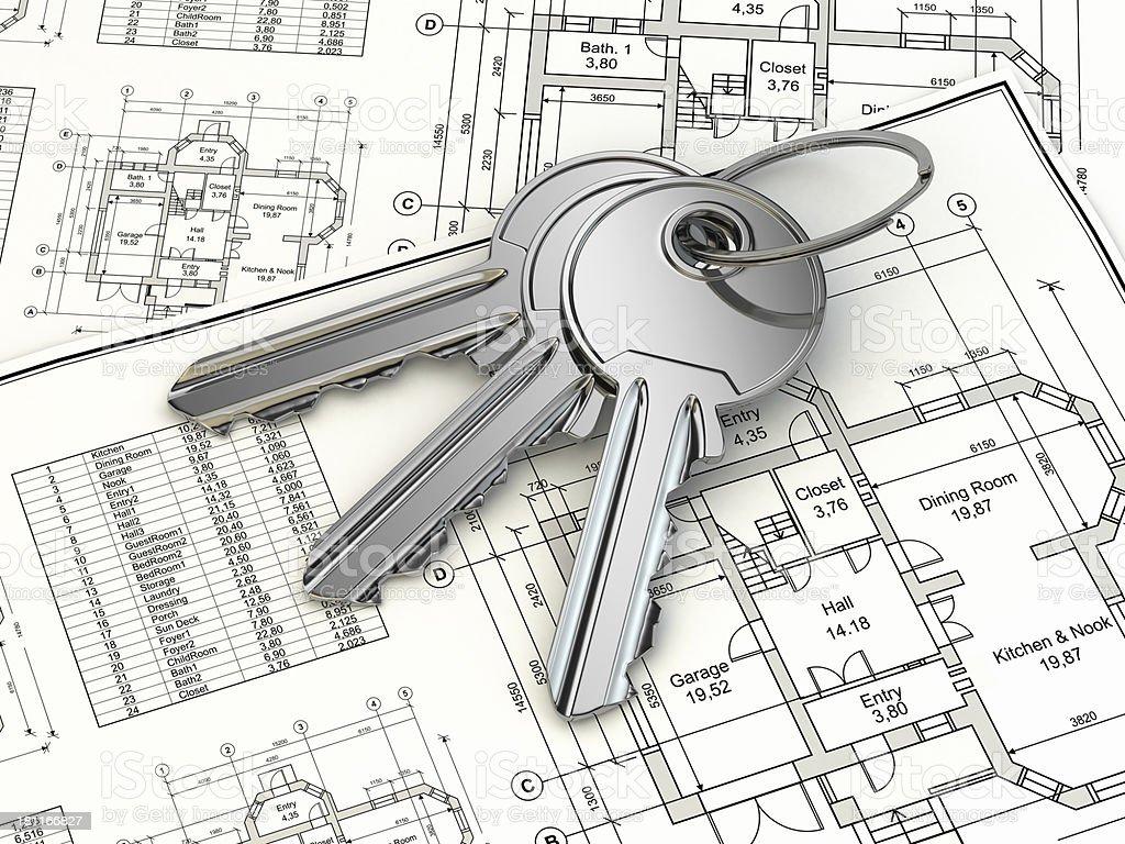 Key on house plan blueprint. 3d royalty-free stock photo