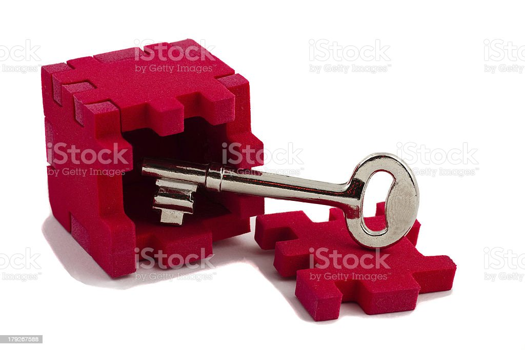 Key opens puzzle royalty-free stock photo