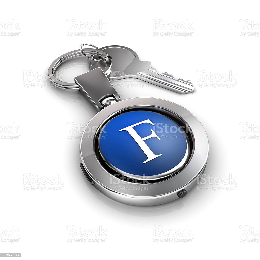 key password with Letter F security protection royalty-free stock photo