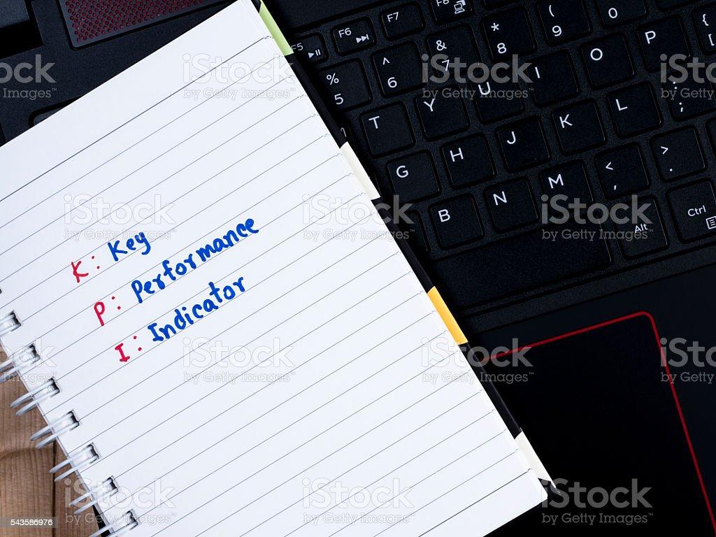 Key Performance Indicator on laptop keyboard 2 stock photo