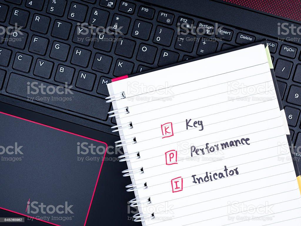 Key Performance Indicator on laptop keyboard 3 stock photo