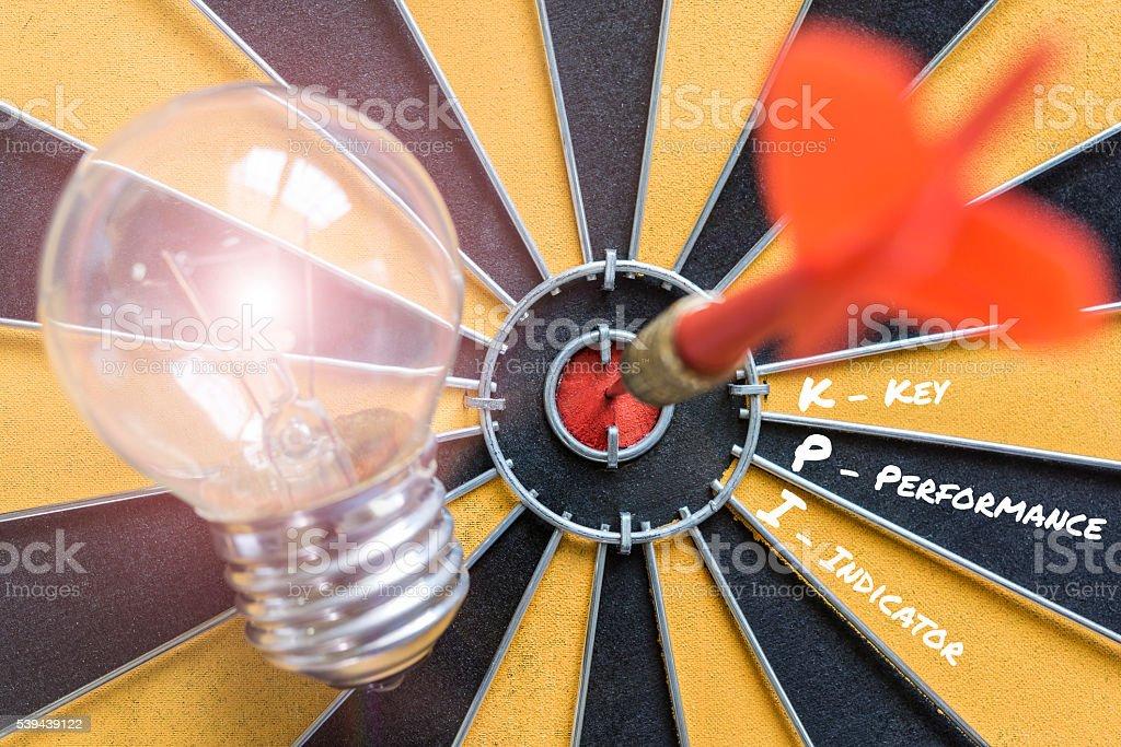 KPI key performance indicator with idea lamp target stock photo