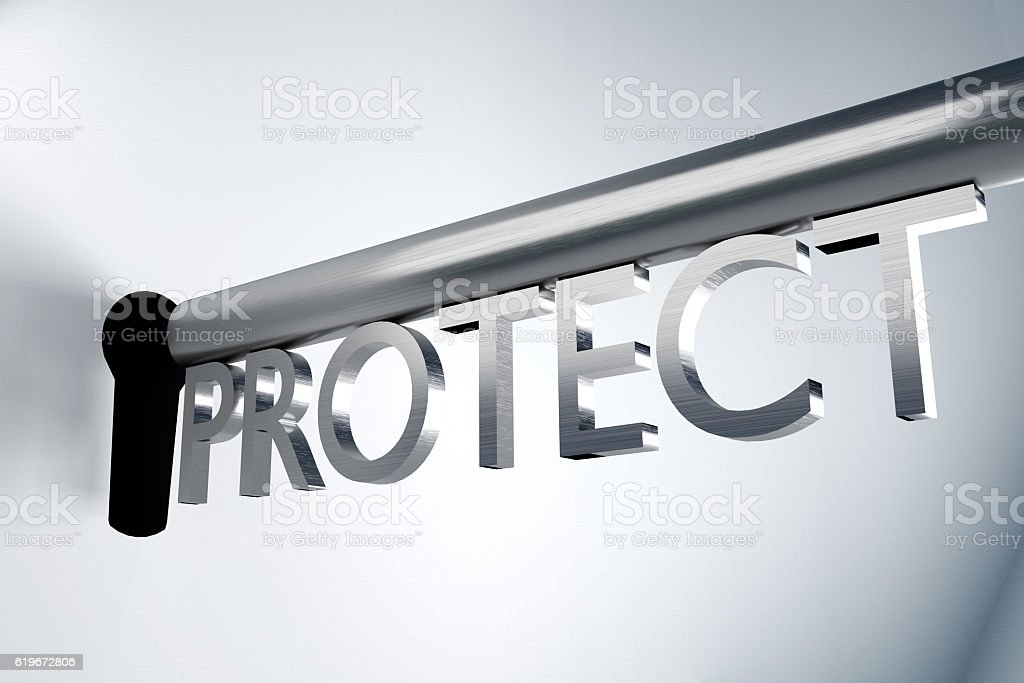 key protect keyhole 3D Illustration stock photo