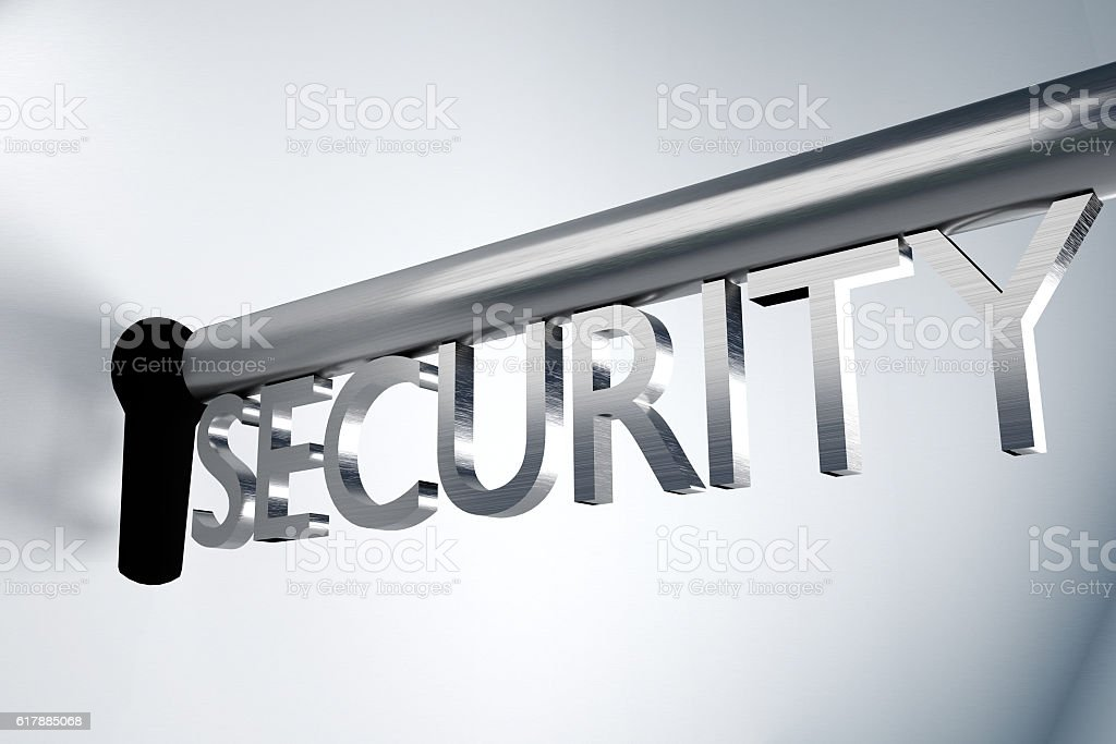 key security lock keyhole secure 3D Illustration stock photo