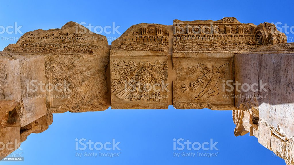 Key stone to the arch of Bacchus (Baalbek, Lebanon) stock photo