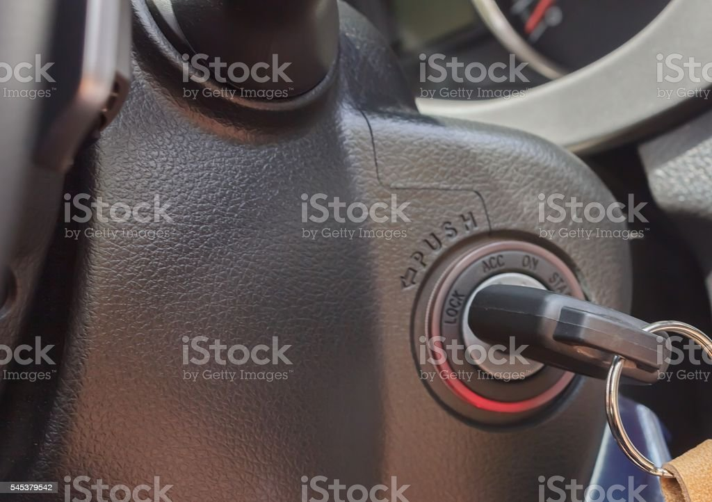 Key switch for starting stock photo