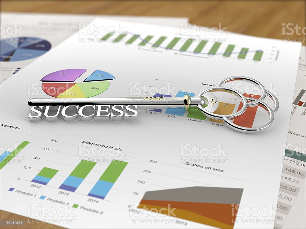 Key to Success - Financial Report Wood stock photo