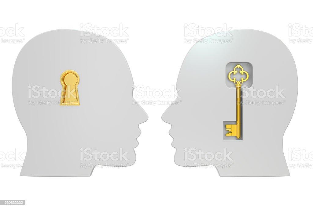 Key to understanding concept, 3D rendering stock photo