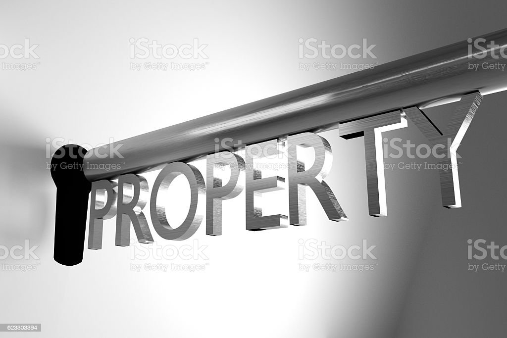 key unlock keyhole property 3D Illustration stock photo