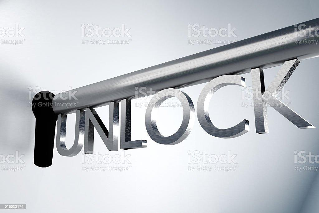key unlock keyhole secure 3D Illustration stock photo