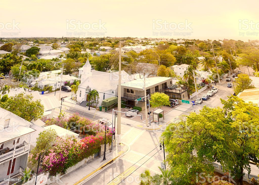 Key West Cityscape.  Aerial View. stock photo