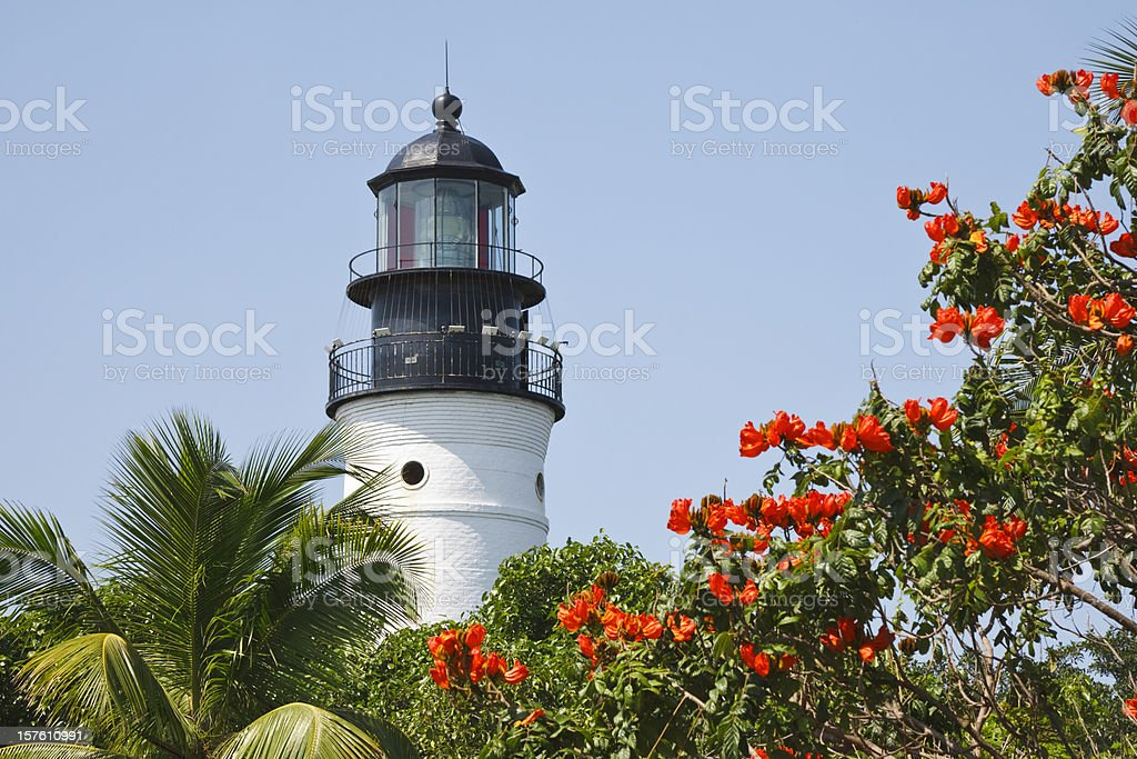 Key West lighthouse on a clear day stock photo
