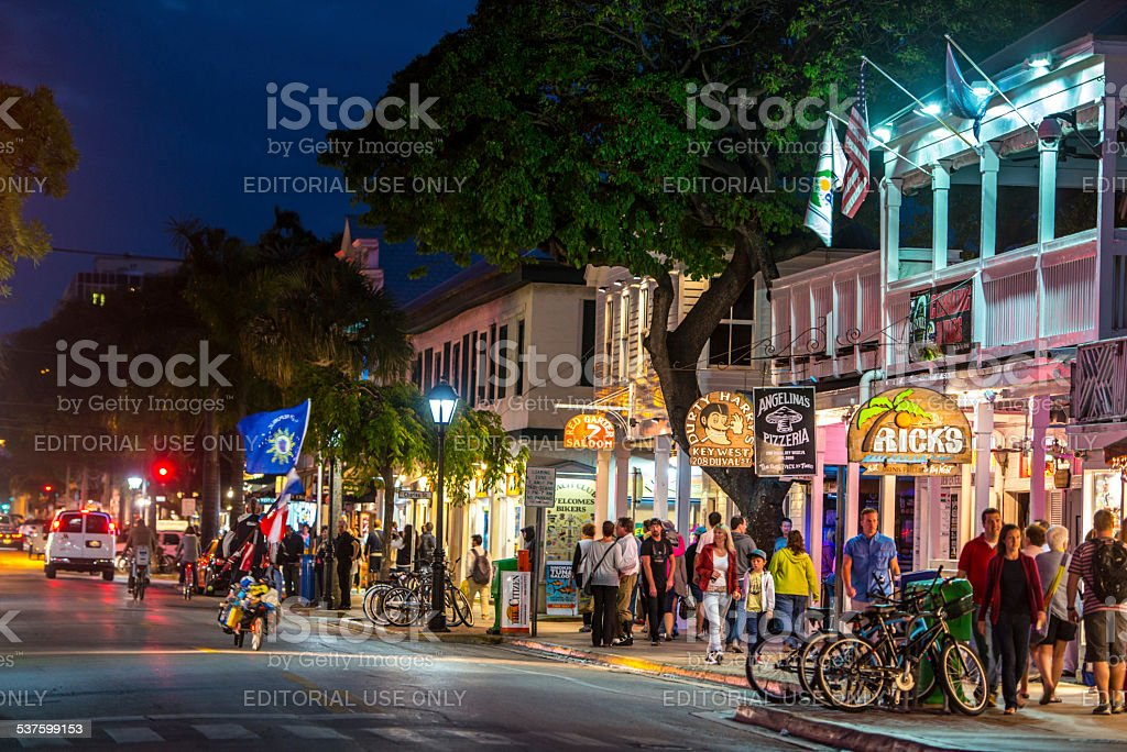 Key West streets by night stock photo