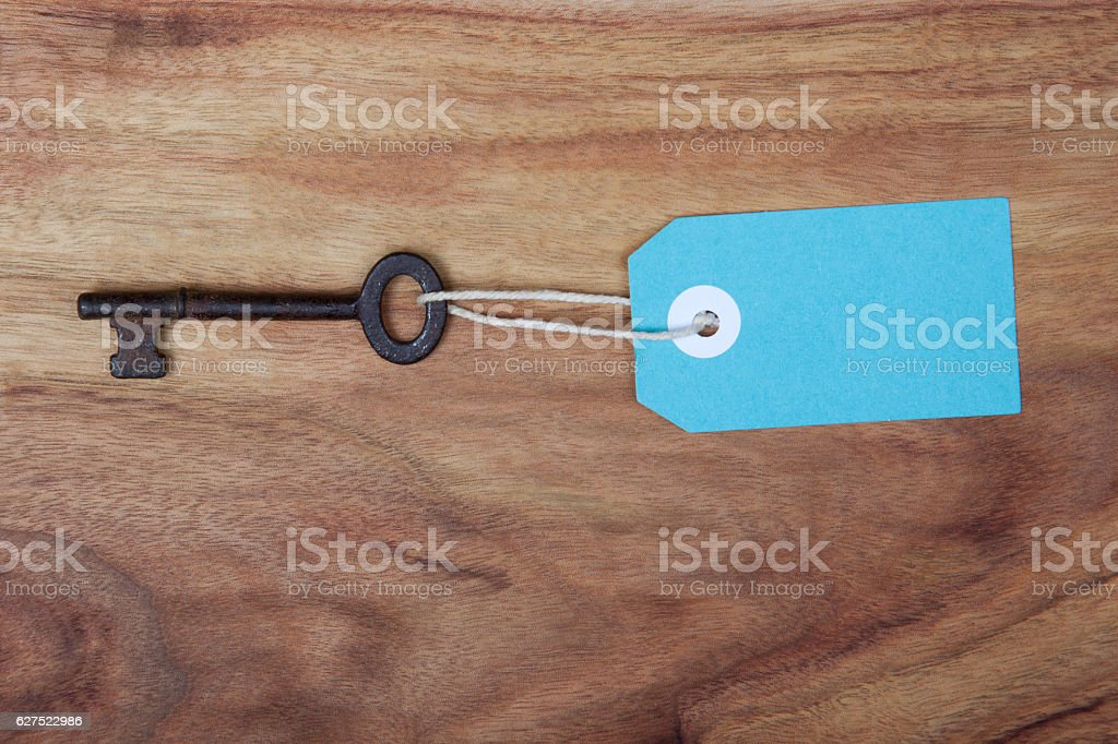 Key with a tag stock photo