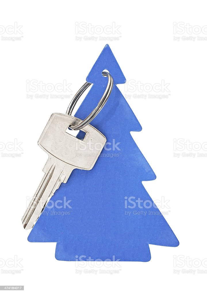 key with blank tag in the form of Christmas tree royalty-free stock photo