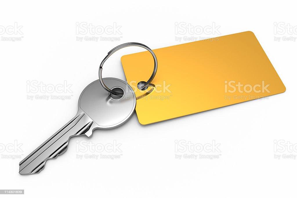 Key with golden keyring stock photo