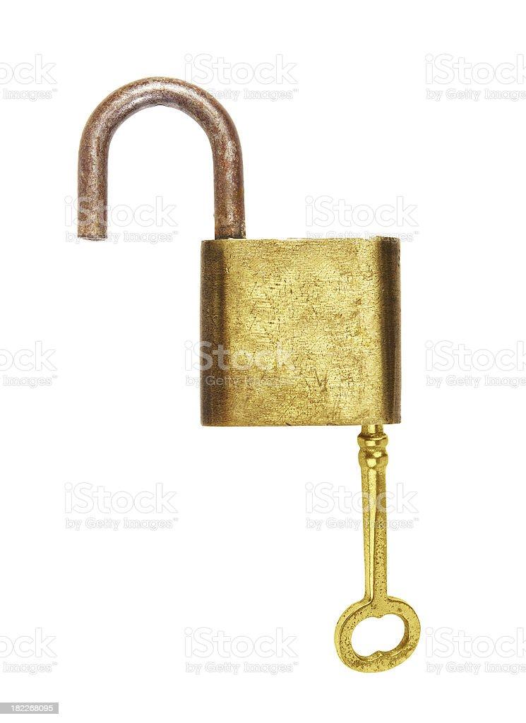 Key with lock isolated royalty-free stock photo