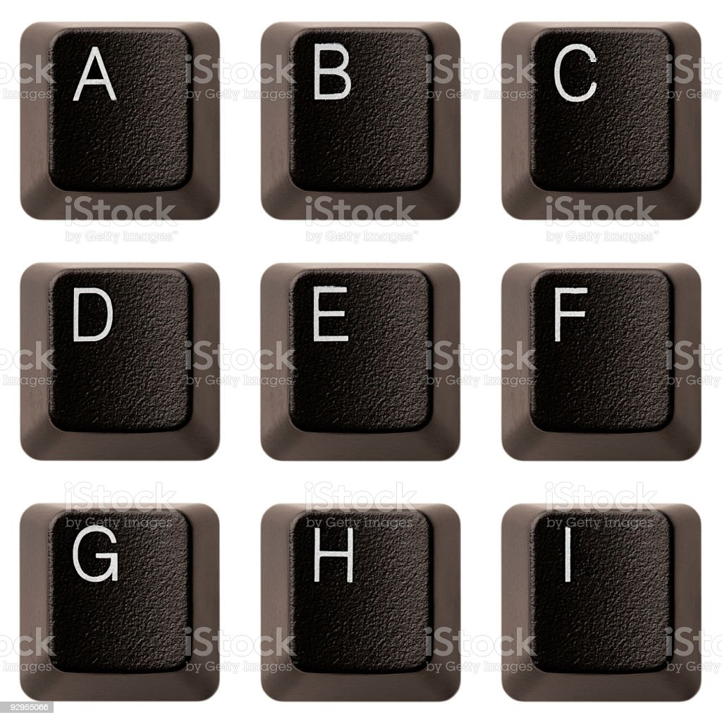 Keyboard alphabet A-I XXXL royalty-free stock photo