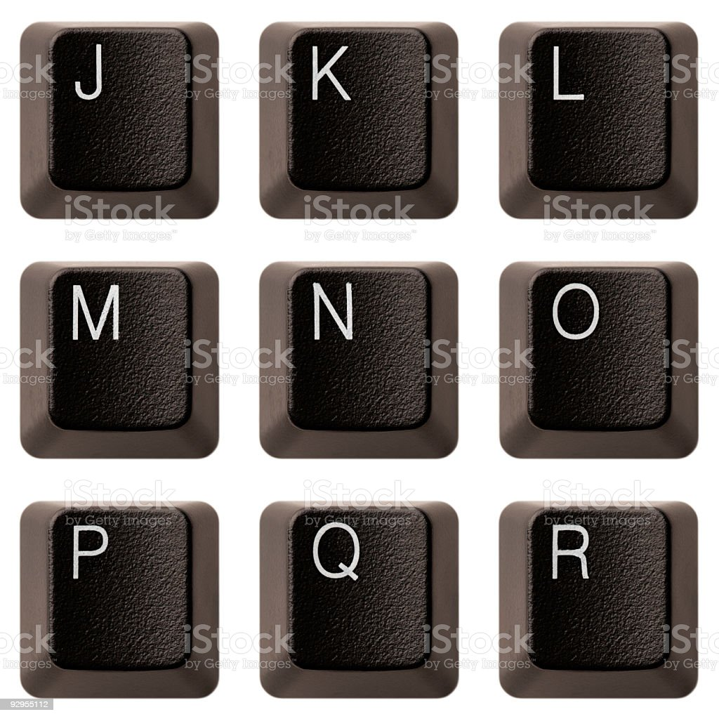 Keyboard alphabet J-R XXXL royalty-free stock photo