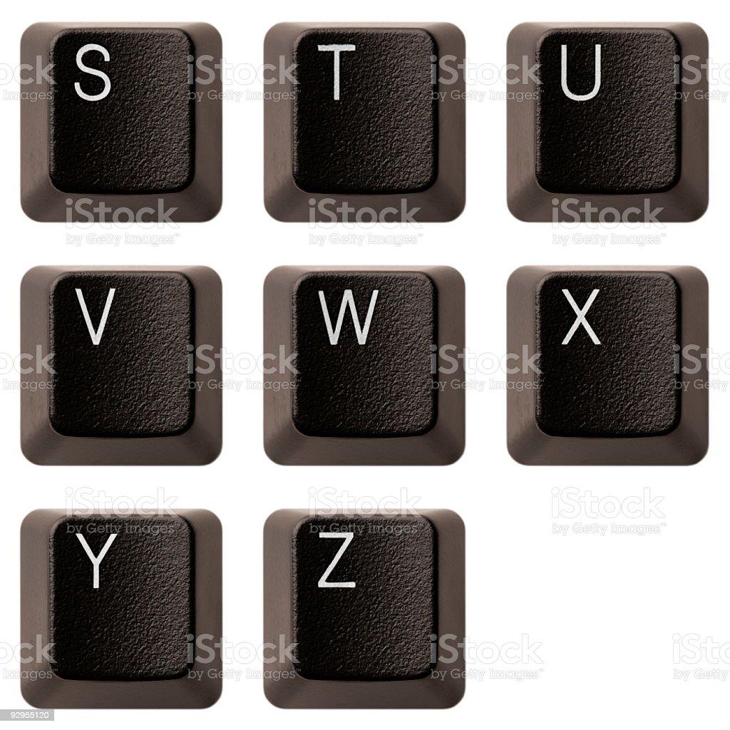 Keyboard alphabet S-Z XXXL royalty-free stock photo