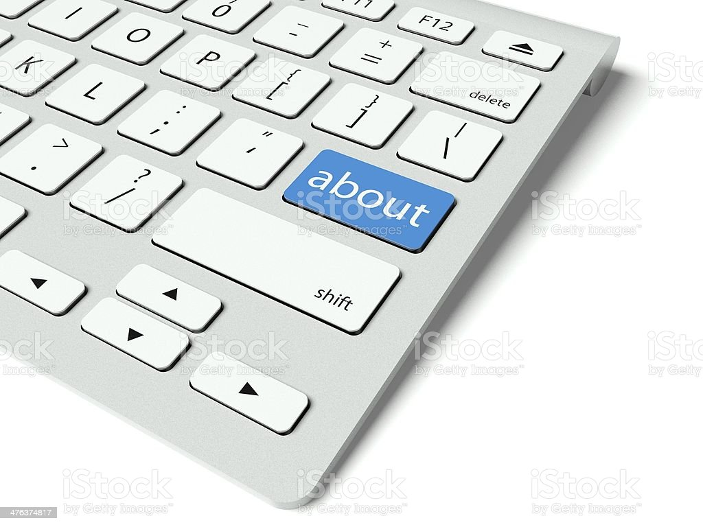Keyboard and blue About us button, internet concept royalty-free stock photo