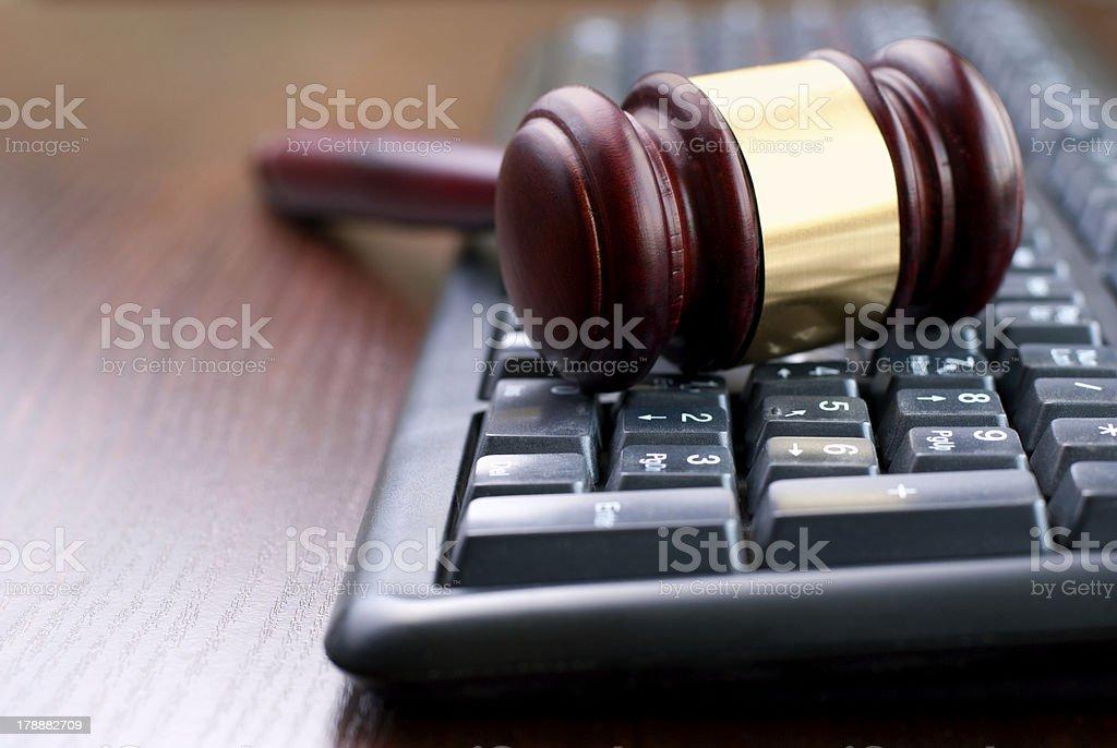 keyboard and gavel royalty-free stock photo