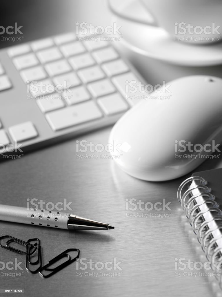 Keyboard and Mouse on a Office Desk stock photo