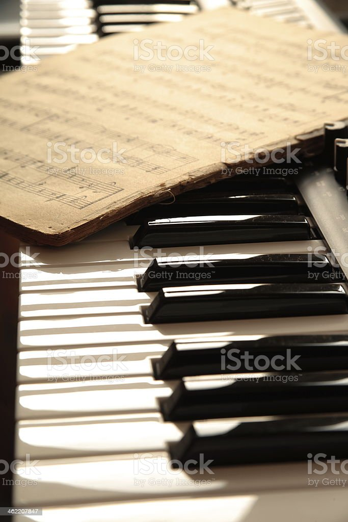 Keyboard and old notes. stock photo