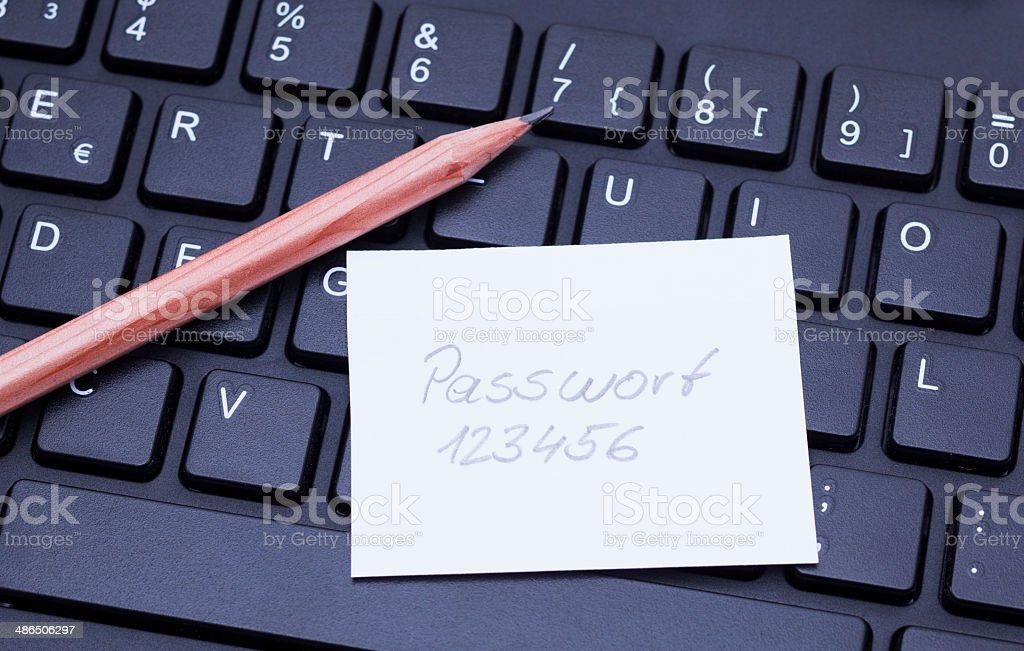 Keyboard and password stock photo