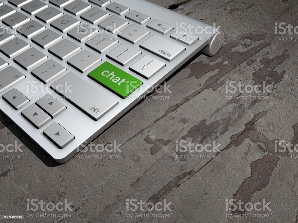 Keyboard button, chat on the web, internet chat search. 3d rendering stock photo