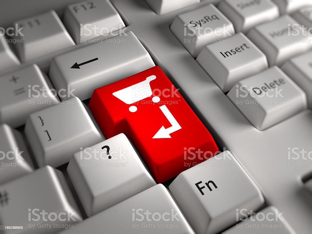 Keyboard closeup: Checkout cart Key royalty-free stock photo