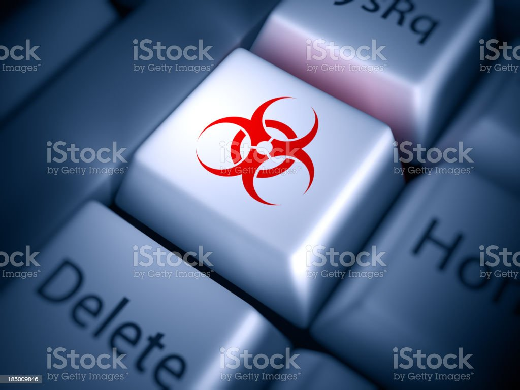 Keyboard closeup: virus alert! royalty-free stock photo