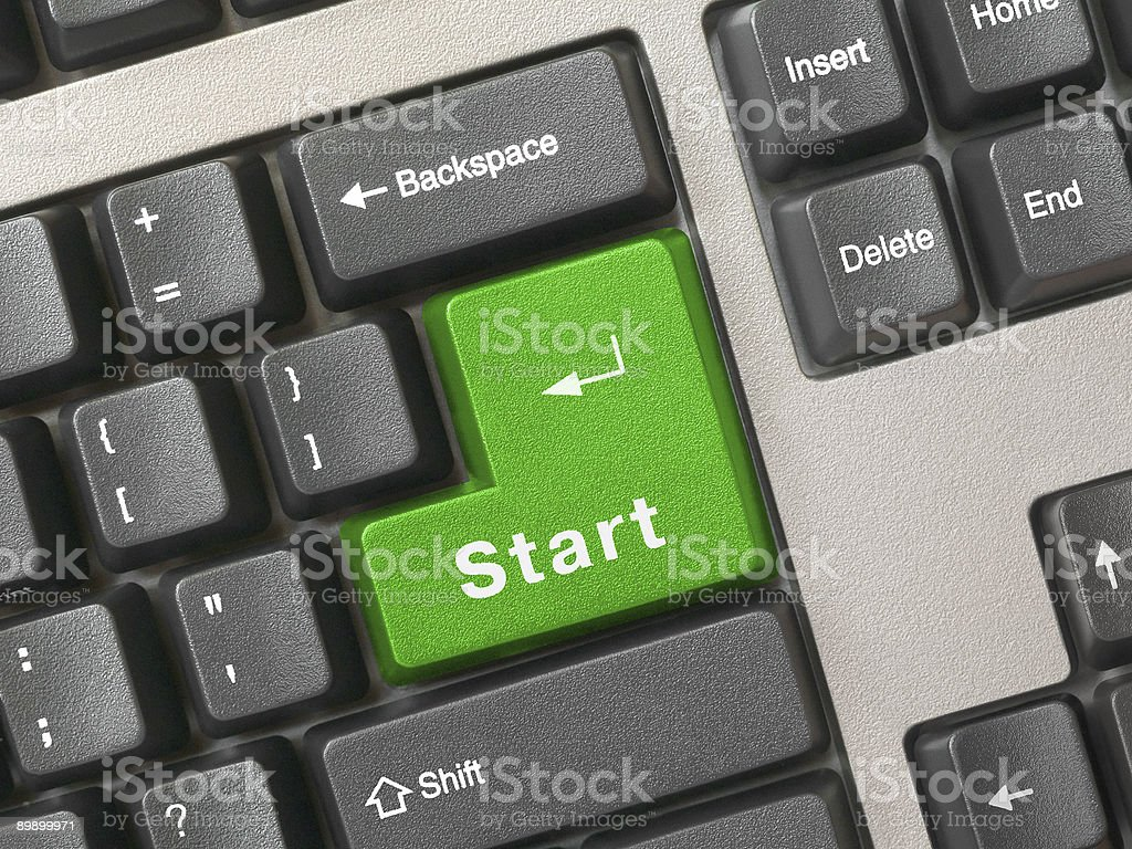 Keyboard - green key Start royalty-free stock photo