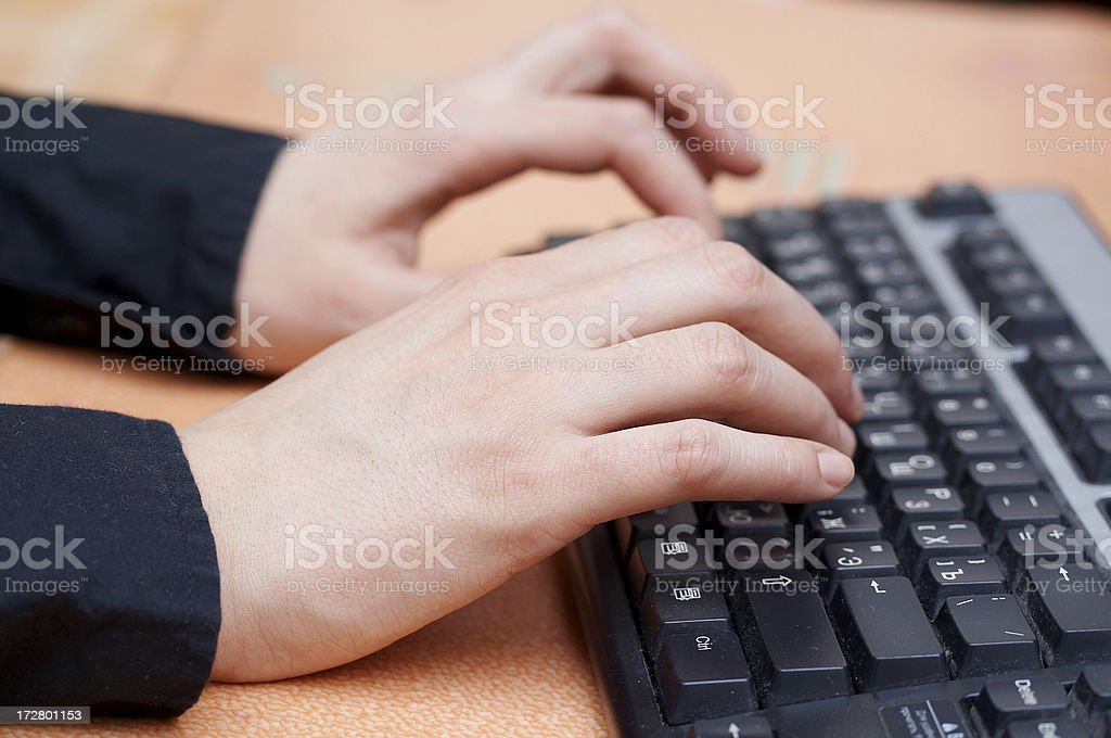Keyboard hands royalty-free stock photo