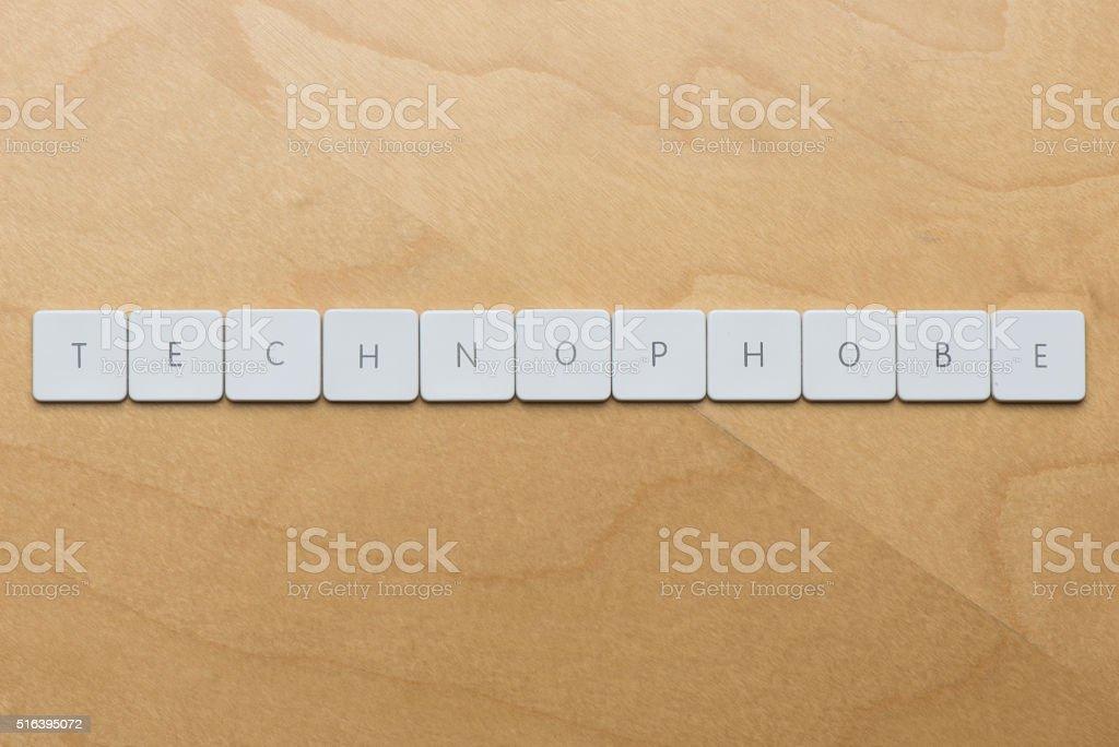 Keyboard Letters-Technophobe stock photo