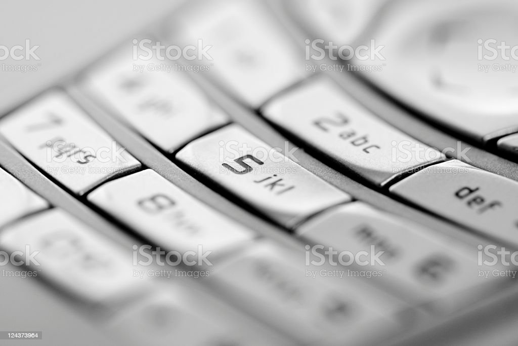 Keyboard Mobile Phone Closep, Black and White Image stock photo