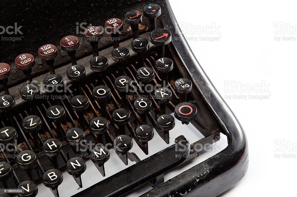 Keyboard of a vintage typewriter in close up stock photo