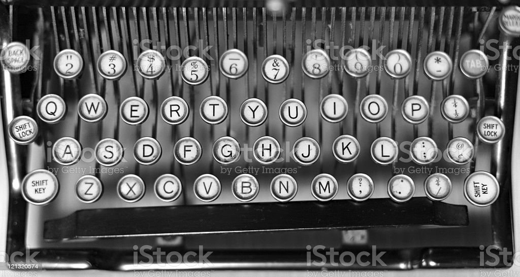 Keyboard of old typewriter royalty-free stock photo