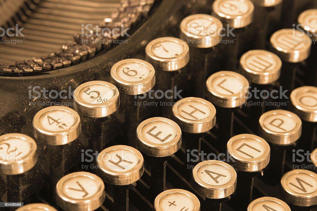 Keyboard of vintage typewriter royalty-free stock photo