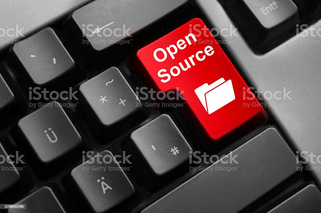keyboard red button open source stock photo