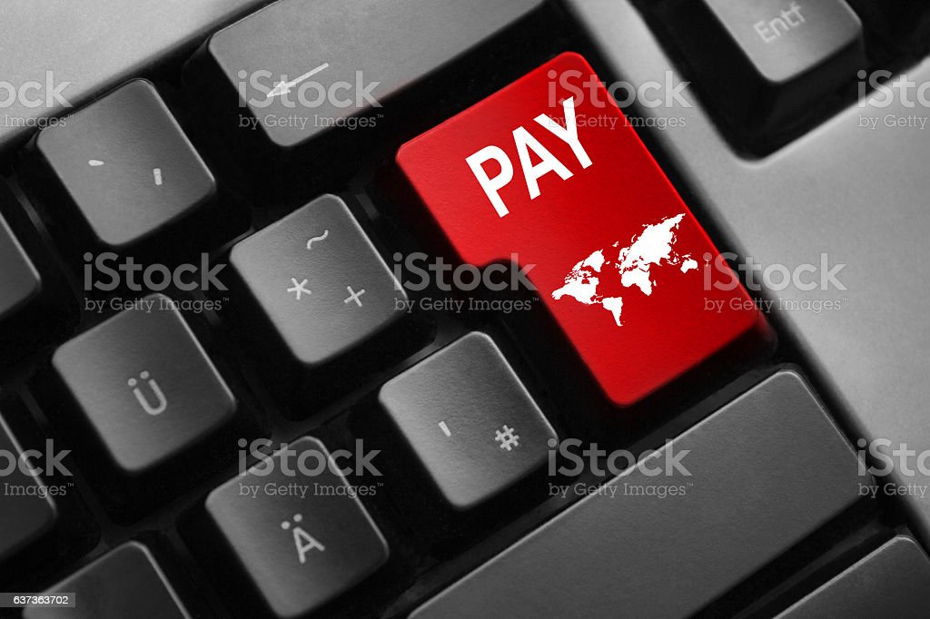 keyboard red button pay symbol stock photo