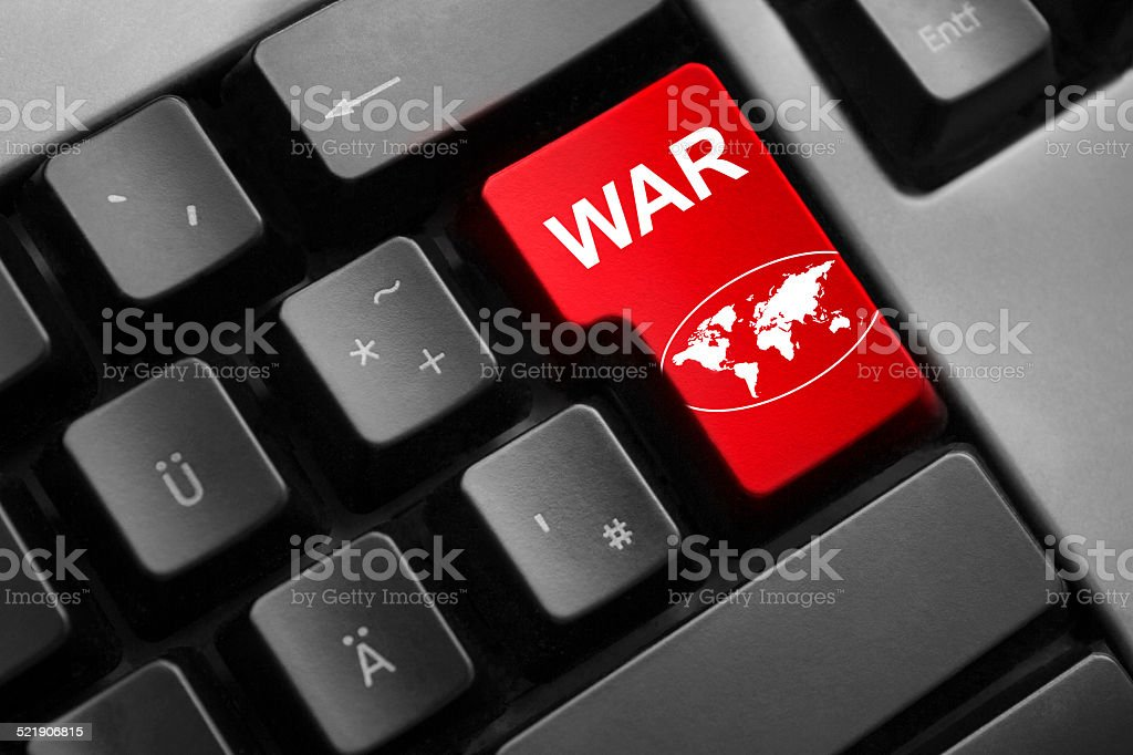 keyboard red enter button war global symbol stock photo