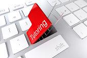 keyboard red enter key hatch ladder tutoring 3D Illustration
