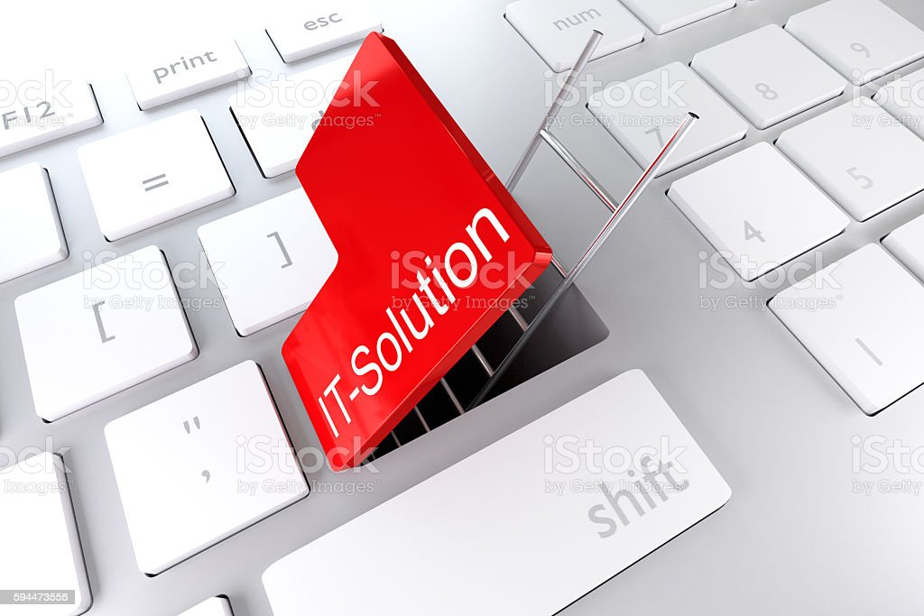 keyboard red enter key underpass ladder it solution 3D Illustrat stock photo