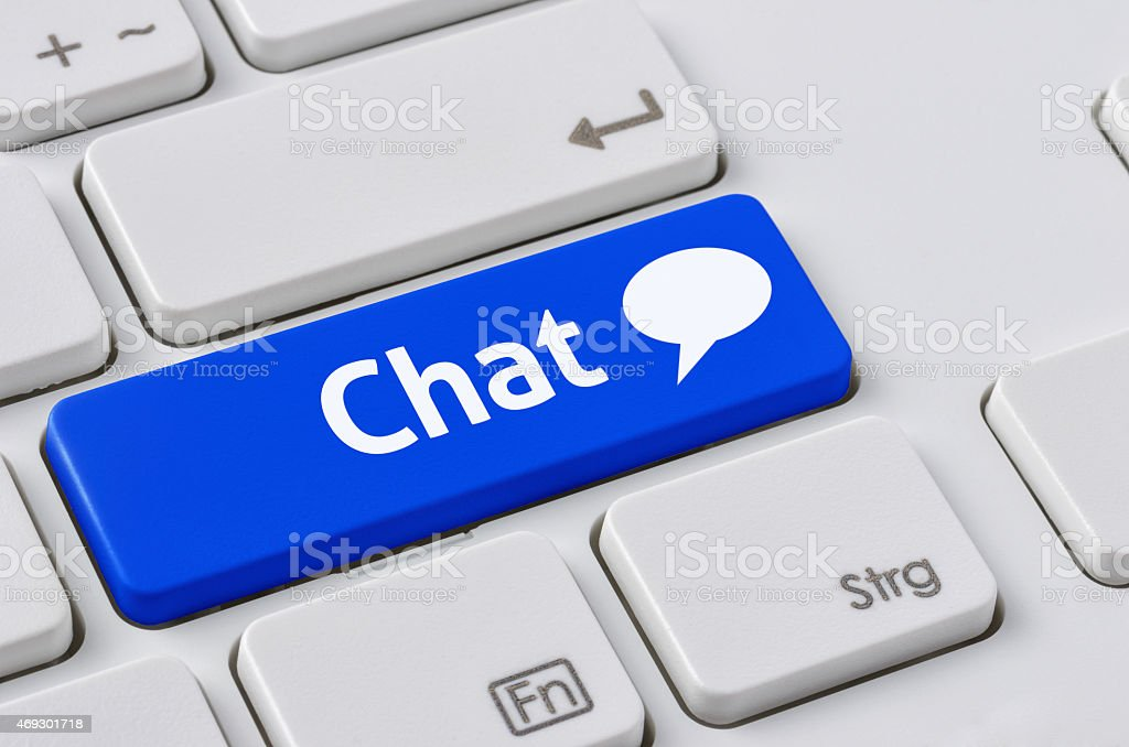 Keyboard with a blue button - Chat stock photo