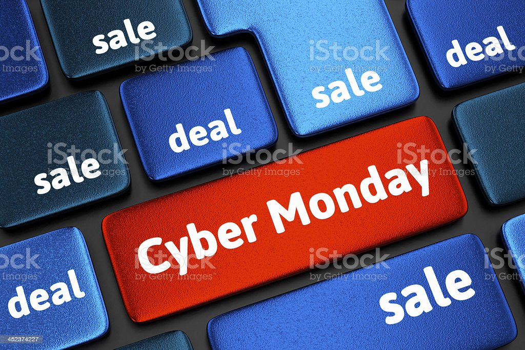 A keyboard with a cyber Monday key royalty-free stock photo
