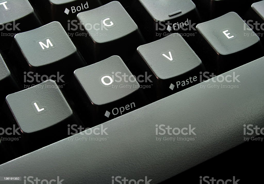 Keyboard with alphabet LOVE - An Online Dating royalty-free stock photo