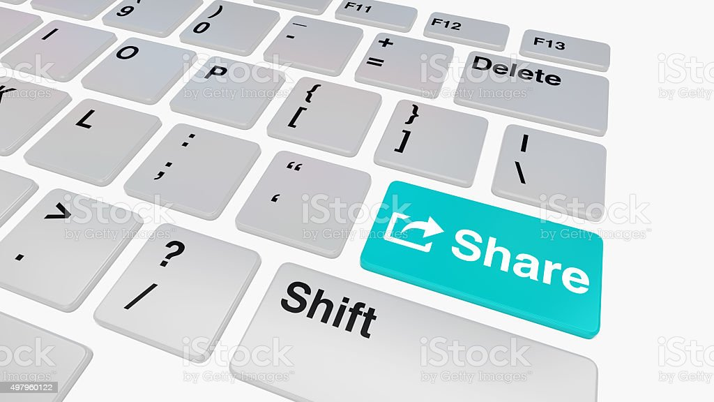 Keyboard with blue share key stock photo