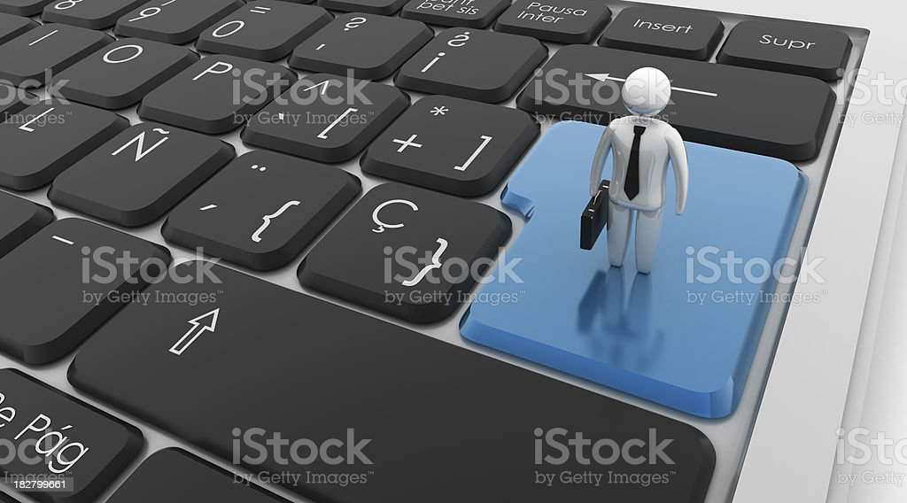 Keyboard with Businessman royalty-free stock photo
